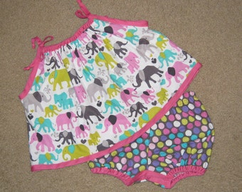 Elephant Pillowcase Top with Matching Diaper Cover Bloomers - will fit 3 to 9 mth even a slim 12mth, girls shortset, toddler short set