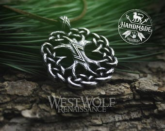 Knotted Tree of Life Pendant - Yggdrasil the World Tree -- Viking/Celtic/Norse/Nature/Pagan/Silver/Magic/Regrowth