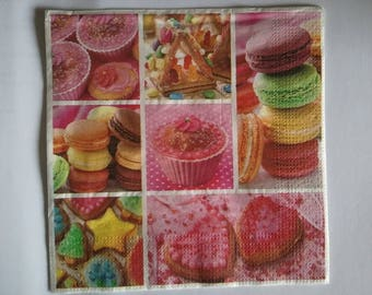 set of 2 towels macaroon, cup cake and sweets