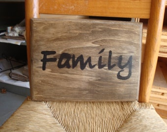 "Hand Painted Wood Sign "" Family"""