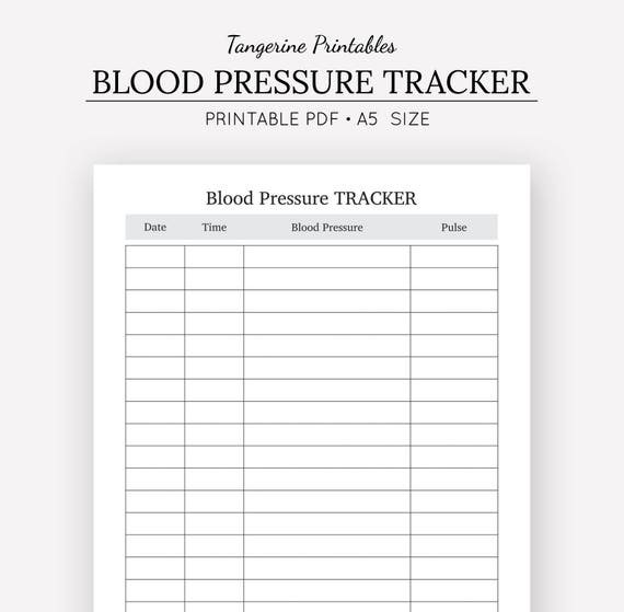 printable blood pressure and pulse log
