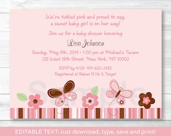 Pink Butterfly Baby Shower Invitation INSTANT DOWNLOAD Editable PDF A241