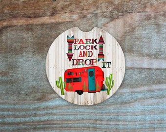 Park Lock and Drop It camper coasters/Camper gifts/ car coasters/  Auto Car Coasters (set of2), Absorbent Sandstone