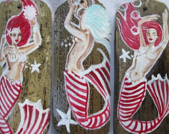 SALE Three Hand Painted Candy Cane mermaid holidayhan  Wooden Ornaments Holiday Decor