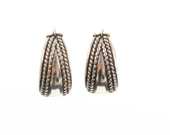Sterling Silver Plait Design Oval Hooped Earrings