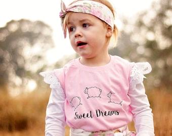Sheep shirt, kids shirt, sweet dreams, dream shirt, counting sheep, animal shirt, black sheep, kids sheep, cute animal shirt, night shirt
