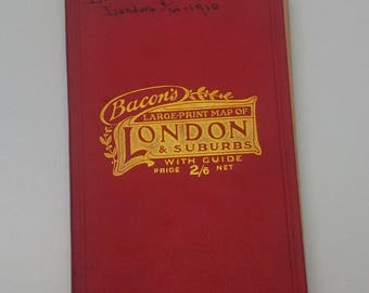 Bacon's Large Print Map of London & Suburbs with Guide - 1907-1910 circa