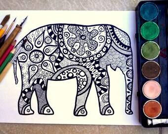 Adulto página colorear arte de zentagle imprimible de página elefante digi sello sellos digitales para colorear libro para adultos arte elefante elefante para colorear