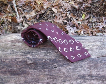 1970s mens tie, Oscar de la Renta, geometric shapes tie, floppy disks