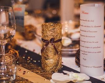 candelitas de menú para boda, bautizo, comunión...