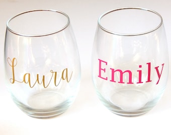 stemless wine glass etsy