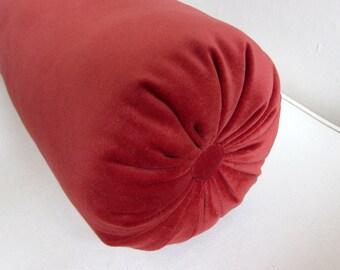 TERRACOTA  velvet  bolster pillow 7x22