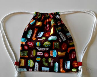 "Backpack ""Dinner"" daycare for children fun snack in printed cotton bag with cords to carry food bag"