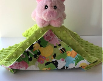 Ultra Plush and Cuddly Pig Lovey Blanket