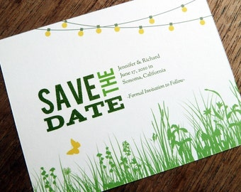Printable Save the Date Card - Save the Date Template - Instant Download - Save the Date PDF - Garden Party Save the Date - String Lights