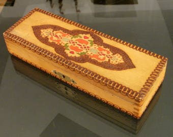 Vintage wooden box pyrographed hand painted