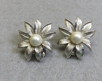 Judy Lee Silvery Flower Clip On Earrings,  Vintage Flower and Pearl Clip Ons