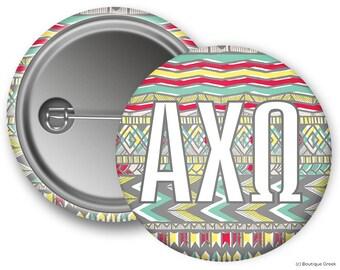 AXO Alpha Chi Omega Aztec Sorority Greek Button