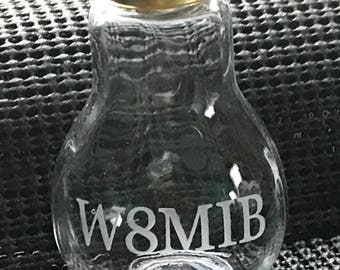 Ham Radio Call Sign Light Bulb Etched Glass Unique Decoration - Paper Weight