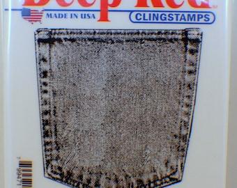 Deep Red Cling Rubber Stamp Rubber Stamp Denim Pocket