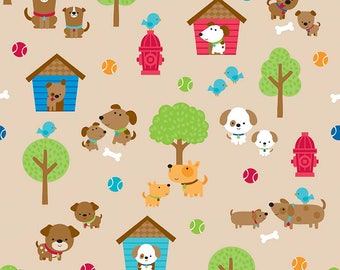 SALE Puppy Love Main Tan - Riley Blake Designs - Brown Dogs Pets Trees - Quilting Cotton Fabric - choose your cut