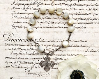 Antique French Bracelet, A Wonderful And Extremely Rare Mother Of Pearl And Silver Bracelet With The Virgin Mary From Lourdes, 19th Century