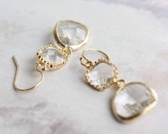 Clear Crystal Bezel Chandelier Earrings