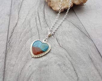 Blue and Copper Resin Heart Pendant // Handmade Resin Heart Necklace // Holiday Jewellery // OOAK // Gift for Her // Birthday // Valentines