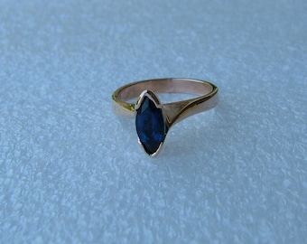 blue sapphire marquise and rose gold antique style ring-Rose gold and blue sapphire 10k gold ring-pink gold ring
