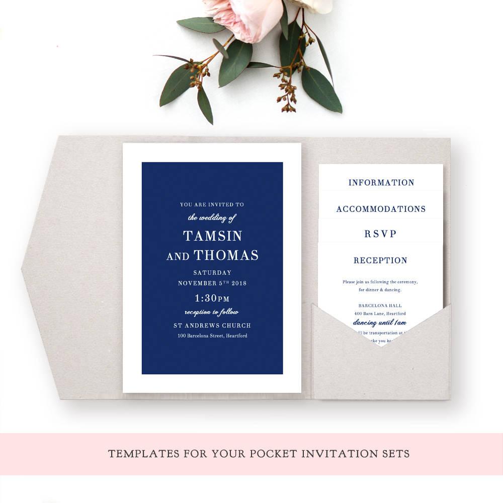 Navy Wedding Invitation: Navy Wedding Invitation Pocket Templates Navy Blue Printable