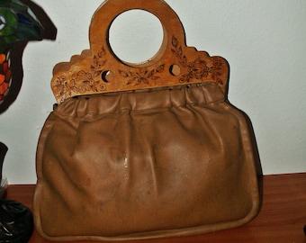 Vintage wooden carved handle handbag/fired handmade hadle/1960s