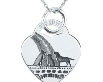 Dogs Rainbow Bridge Necklace, 925 Sterling Silver Heart (can be personalized/engraved)