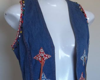 70s embellished hippie/boho denim vest. Faded Glory by Appendagez. Size 9 in good condition.