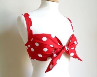Polka Dot Pin Up Style Tie Front Bra Top, Rockabilly Bra Top, Spotty Bikini Top, Retro Lingerie, Vintage Bra, Sizes: XS-XL, Choice of Colour