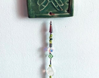 Handcrafted Stoneware Clay Butterfly Beaded Wall Hanging