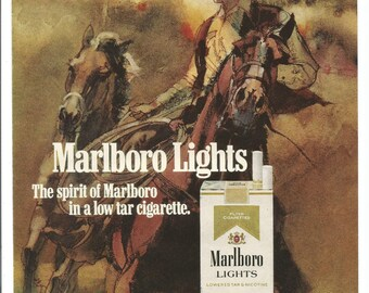 1976 Advertisement Marlboro Lights Cigarettes Smoking 70s Tobacciana Winter Snow Horse Forest Cowboy Country Western Illustrated Art Decor
