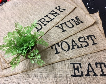 Burlap custom words placemats