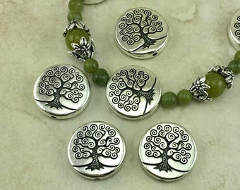 5 TierraCast Puffed Tree of Life Beads - Zen Doodle Spiral Round Coin Ornate - Silver Plated Lead Free Pewter - I ship internationally 5824