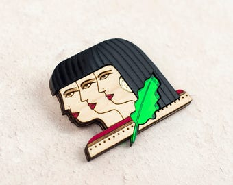 Egyptian Girl Gang Brooch, Ancient Egypt Inspired Laser Cut Jewellery
