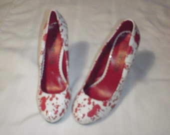 Halloween Night Shoes Blood  White Size 8 and 1/2 for Nursing costume