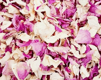 Biodegradable Confetti  Wedding Confetti   Natural Dried Real Petal   Vibrant Pink and Ivory 1 Litre