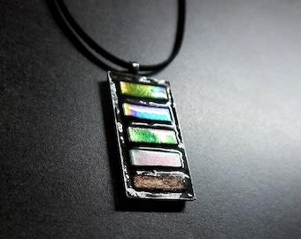 Mosaic pendant with nacreose glassmosaic / Minimalist pendant / Mosaic necklace FREE SHIPPING!