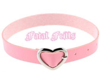 Pink Leather Heart Buckle Choker Collar Kawaii Punk Pastel Goth 90s Adjustable Belt Necklace Vegan
