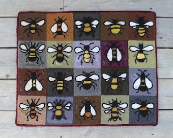 Honey Bee Tiles Hooked Rug, Ready to Ship