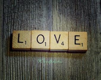 Scrabble tiles, LOVE, wall art