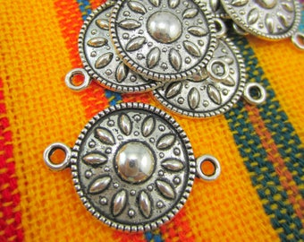12 Silver jewelry connectors earring dangles antiqued silver pendants 25mm x 17mm HP 11AS(-YYY3),