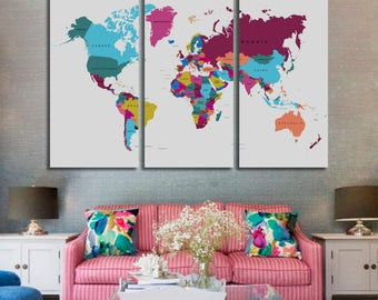 3 panel world map etsy world map canvas push pin world map print art world map travel large gumiabroncs Image collections