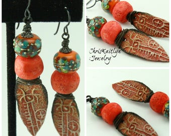Rustic Earrings, Southwest Earrings, Petroglyph Earrings, Rustic Boho Earrings, Bohemian Earrings, Ethnic Earrings, Tribal Earrings, #1025