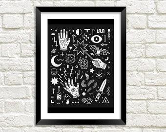 WITCHCRAFT PRINT: Black Magic Occult Art Illustration