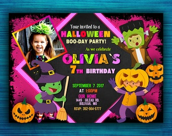 Halloween Party Invitations - Halloween Birthday Party Invitations- Kids Halloween Party - Costume Party Invitation- Girl Invitations